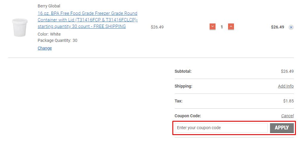 How do I use my ePackageSupply.com coupon code?