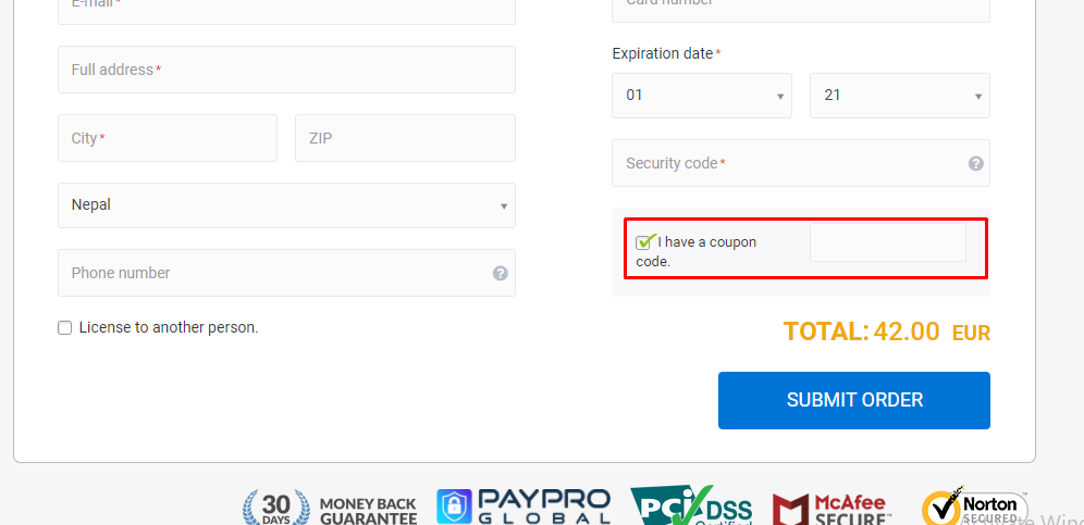 How do I use my Anyplace Control Software coupon code?