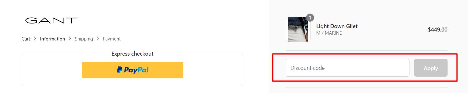 How do I use my Gant discount code?