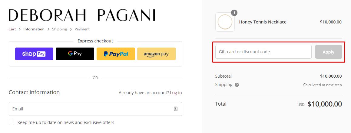 How do I use my Deborah Pagani discount code?