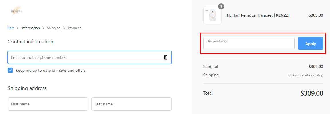 How do I use my Kenzzi discount code?