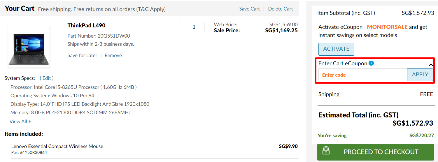 How do I use my Lenovo coupon code?