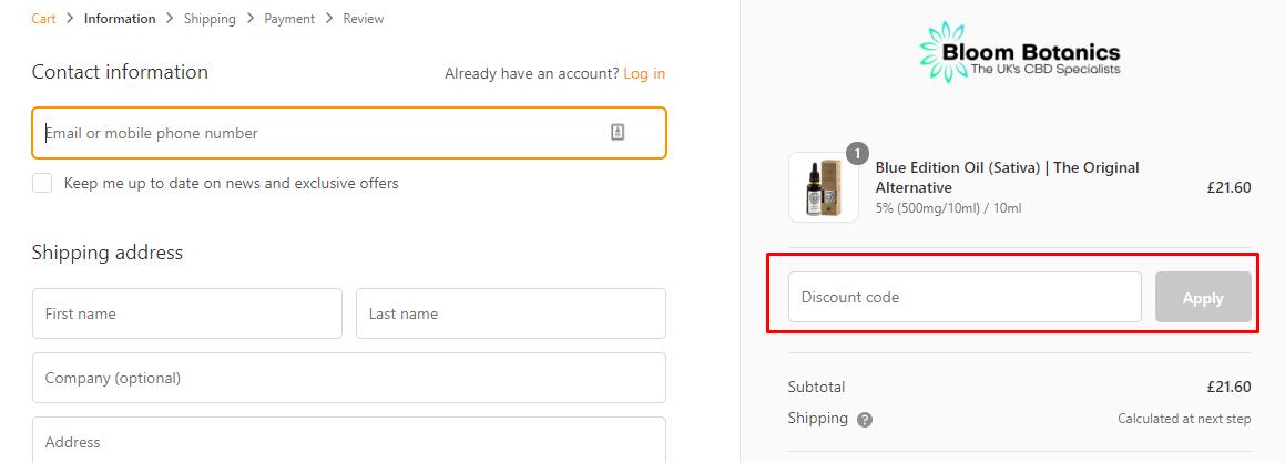How do I use my Bloom Botanics coupon code?