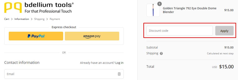 How do I use my Bdellium Tools discount code?