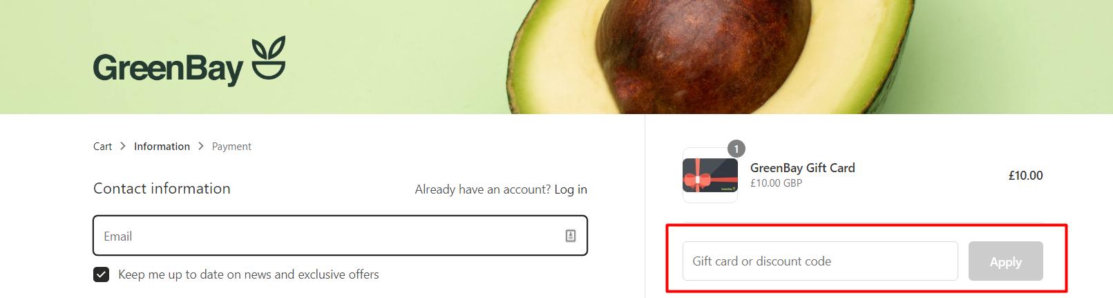 How do I use my GreenBay discount code?