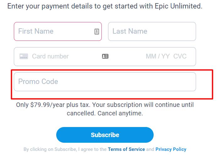 How do I use my Epic promo code?