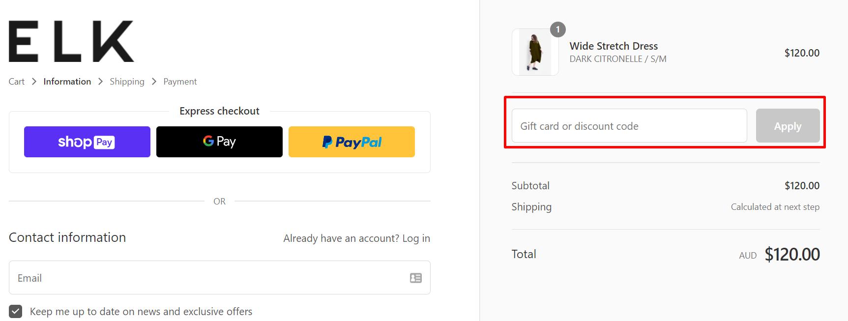 How do I use my ELK discount code?
