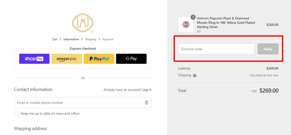 How do I use my LUVMYJEWELRY discount code?