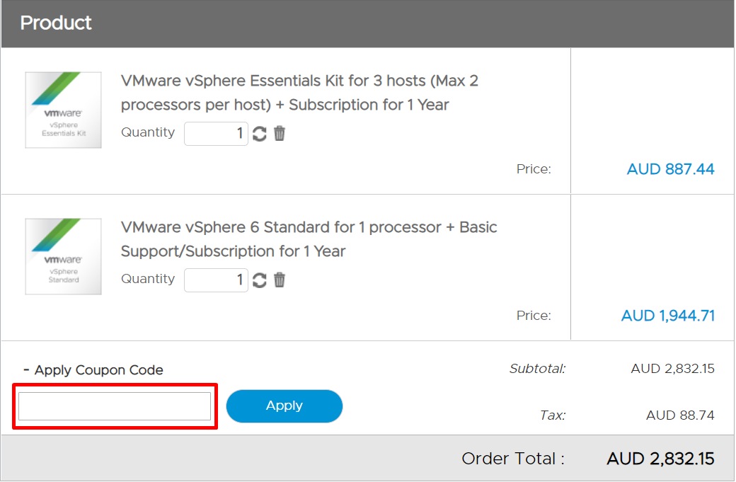 How do I use my VMware coupon code?