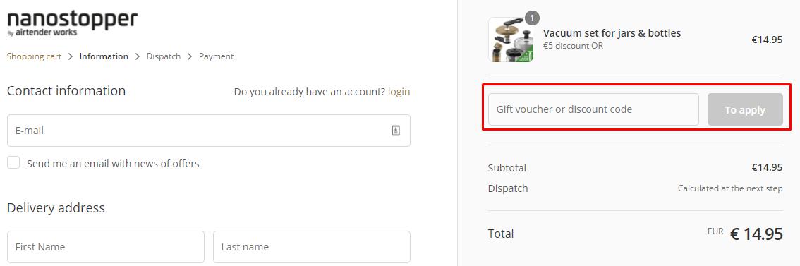 How do I use my Nanostopper discount code?