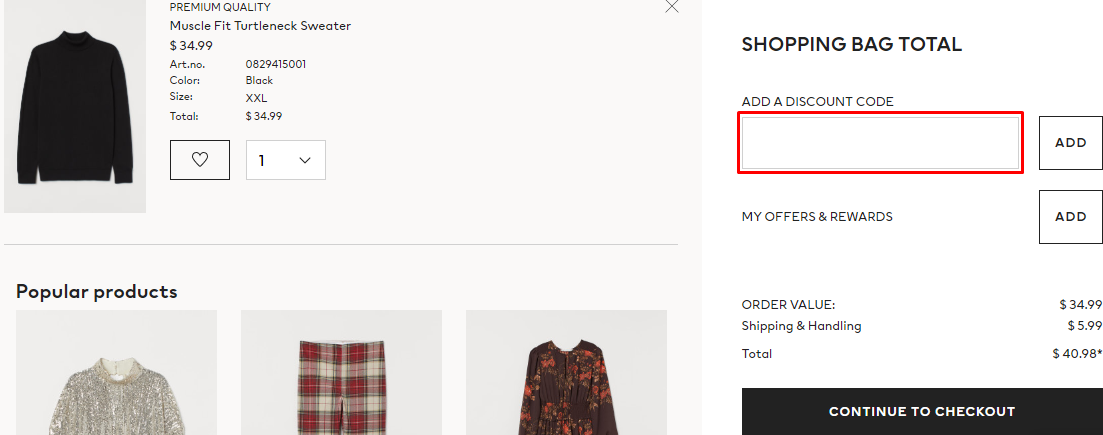How do I use my H&M discount code?