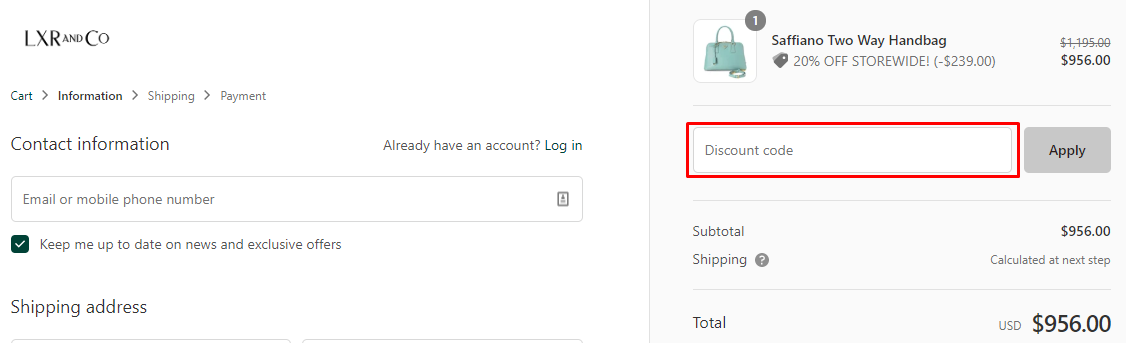 How do I use my LXR & Co coupon code?
