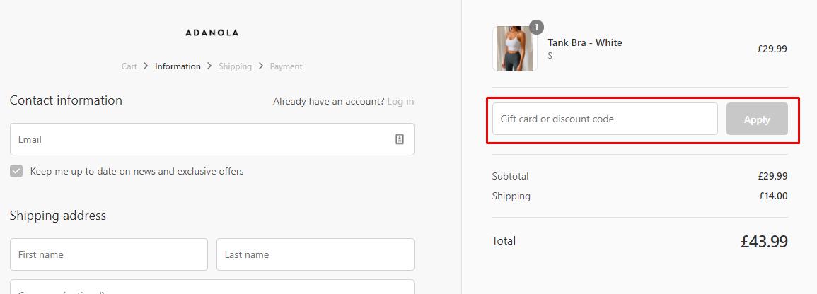 How do I use my Adanola discount code?