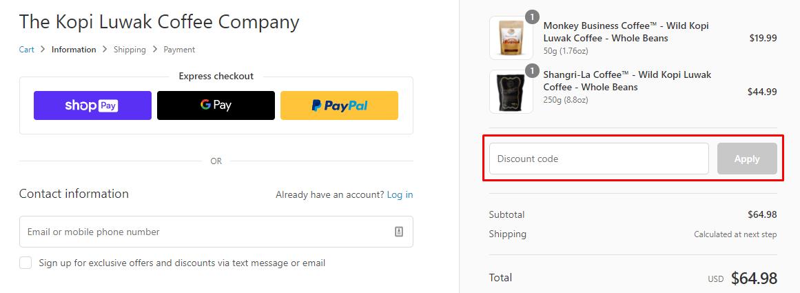 How do I use my The Kopi Luwak Company discount code?