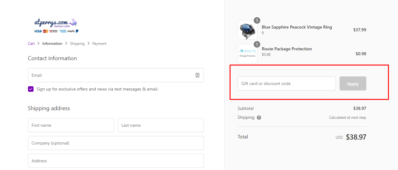 How do I use my atperrys discount code?