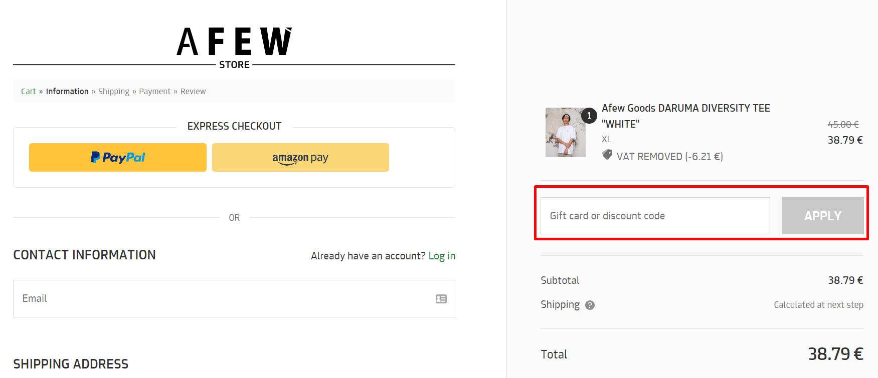 How do I use my Afew Store discount code?