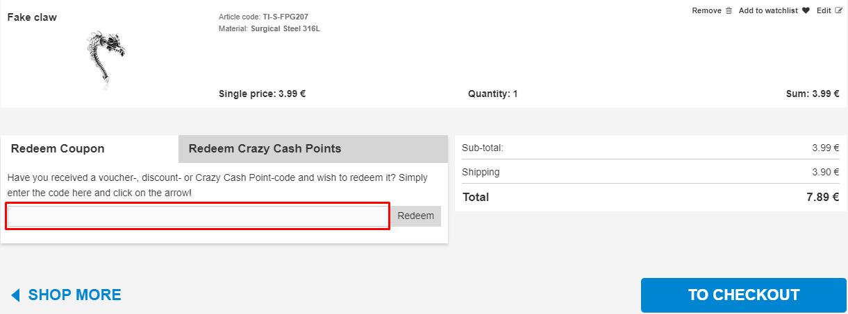 How do I use my Crazy Factory coupon code?