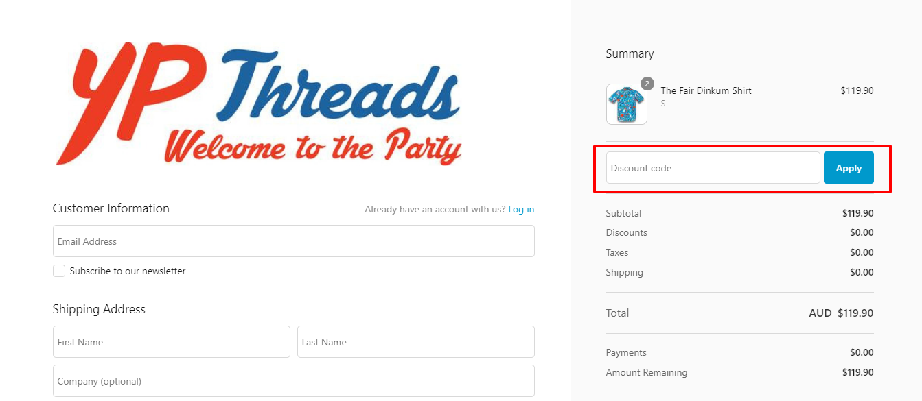 How do I use my YP Threads discount code?