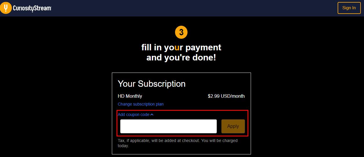 How do I use my CuriosityStream coupon code?