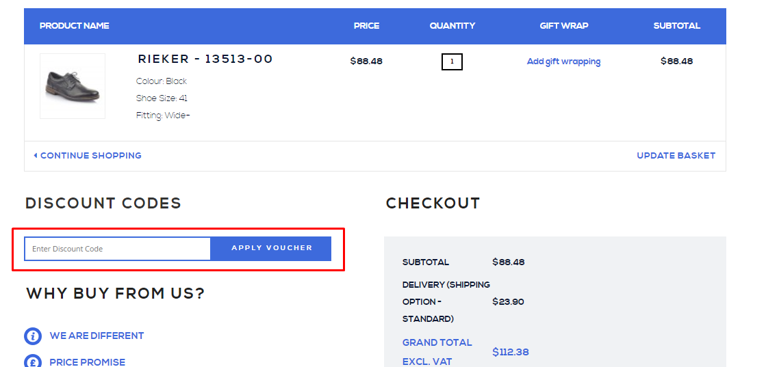How do I use my Shoes International discount code?