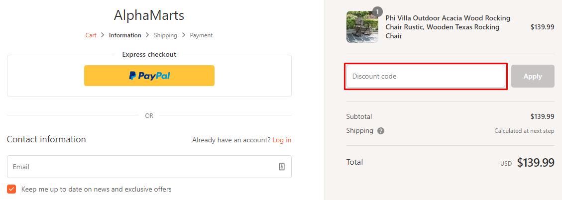 How do I use my Alphamarts coupon code?