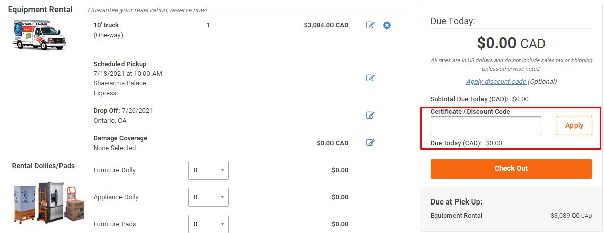 How do I use my U-Haul discount code?