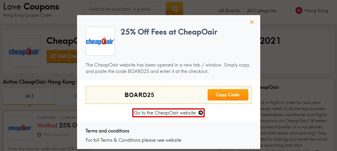 CheapOair Offer HK