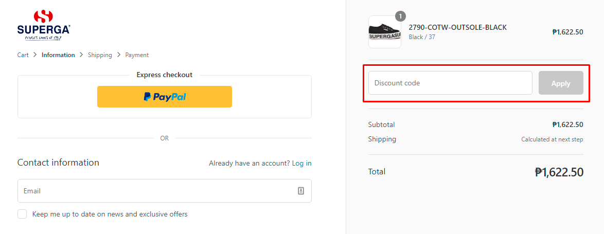 How do I use my Superga discount code?
