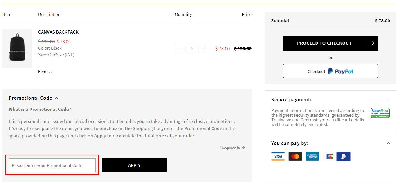 How do I use my Armani Exchange promotional code?