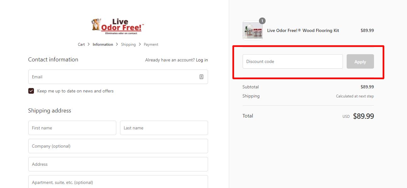 How do I use my Live Pee Free! discount code?