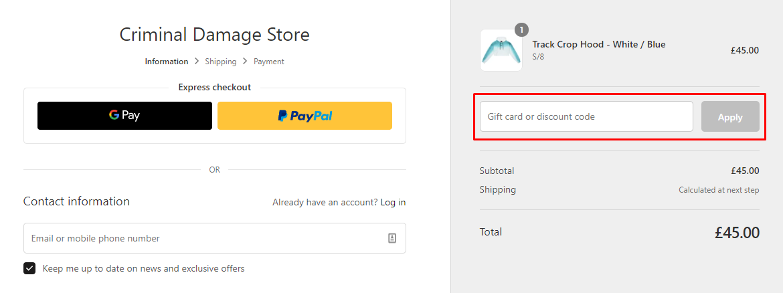 How do I use my Criminal Damage discount code?