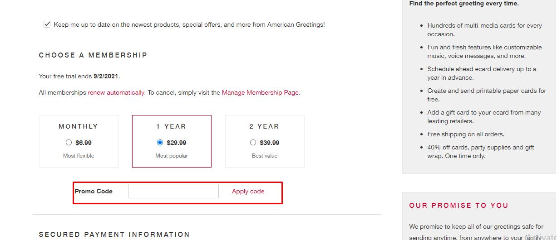 How do I use my American Greetings promo code?