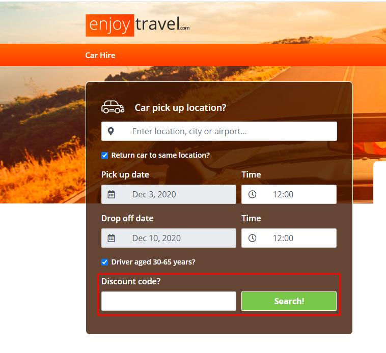 How do I use my Enjoy Travel discount code?
