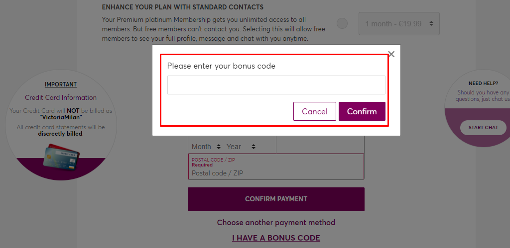 How do I use my Victoria Milan bonus code?