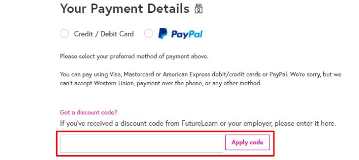 How do I use my FutureLearn discount code?