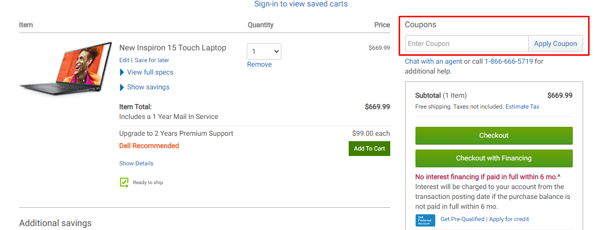 How do I use my Dell coupon code?