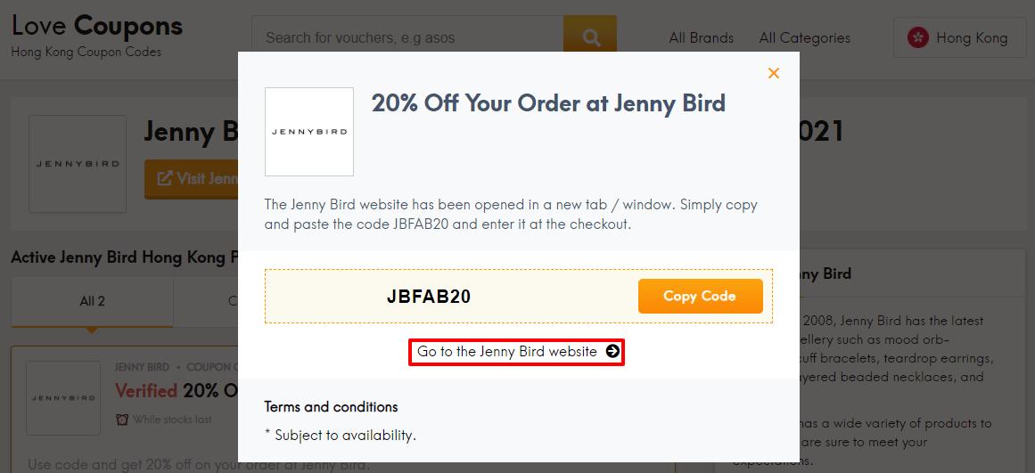 Jenny Bird Offer HK
