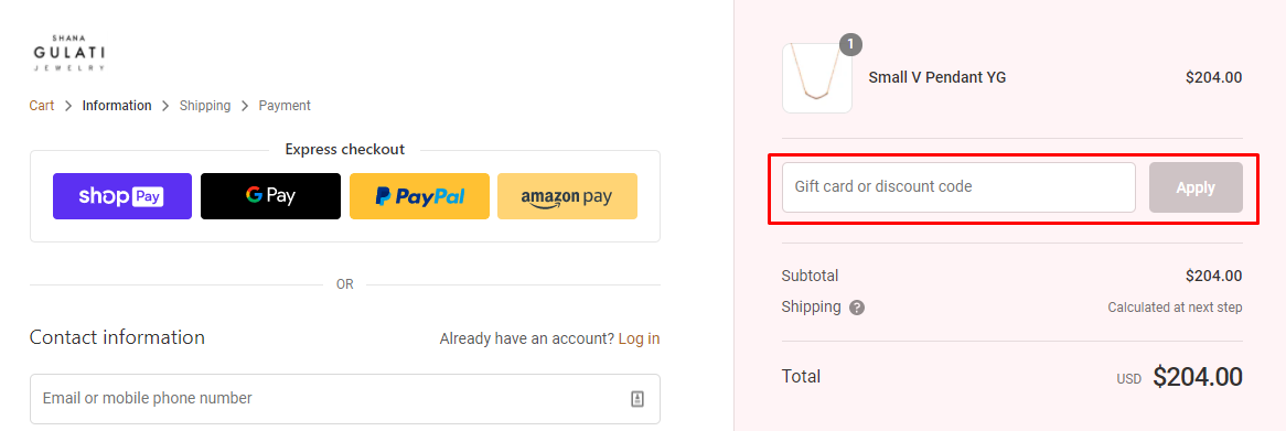 How do I use my Shana Gulati Jewelry discount code?