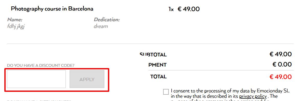 How do I use my Emocionday discount code?