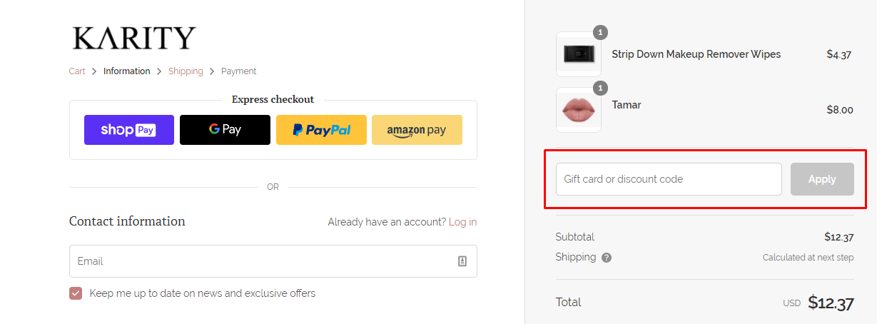 How do I use my Karity discount code?