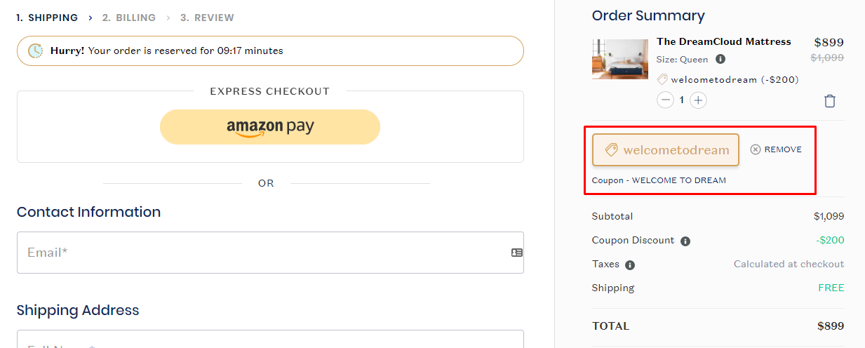 How do I use my DreamCloud coupon code?
