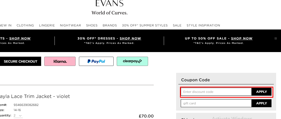 How do I use my Evans coupon code?