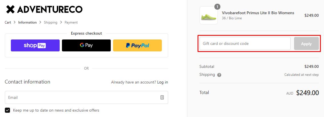 How do I use my AdventureCo discount code?