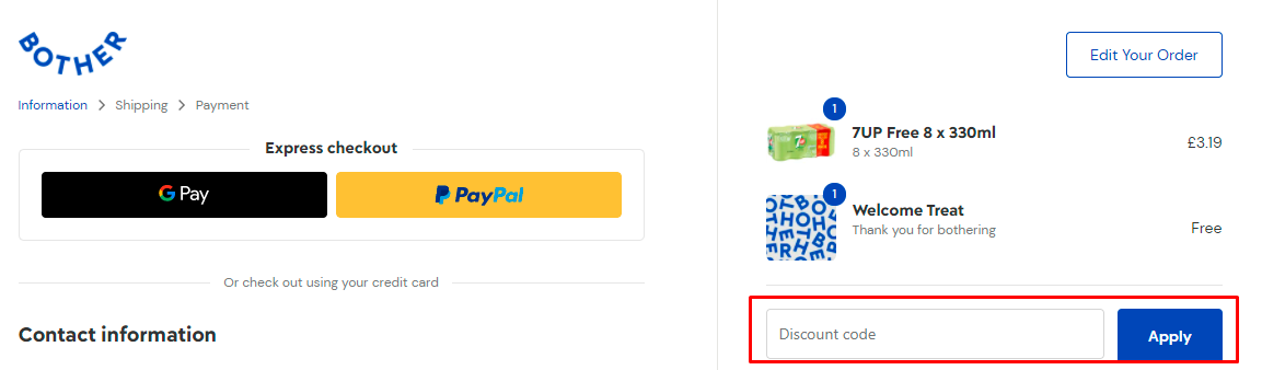 How do I use my Bother discount code?