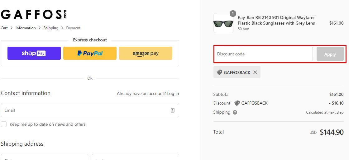 How do I use my Gaffos.com discount code?