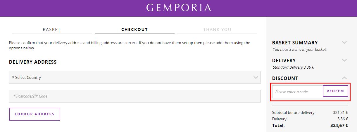 How do I use my Gemporia discount code?