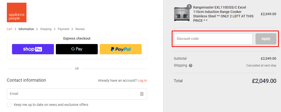 How do I use my Appliance People discount code?
