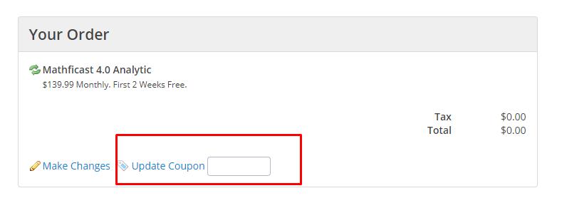 How do I use my mathficast coupon code?