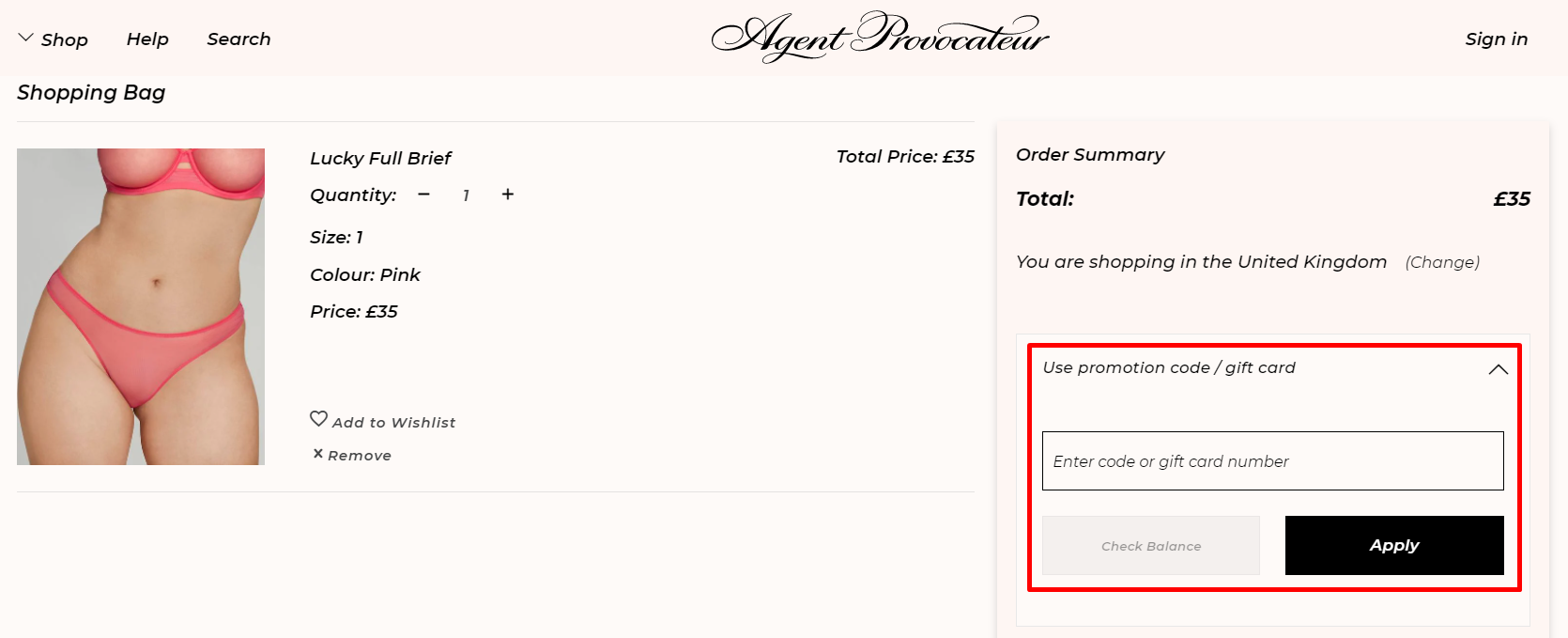 How do I use my Agent Provocateur promotion code?