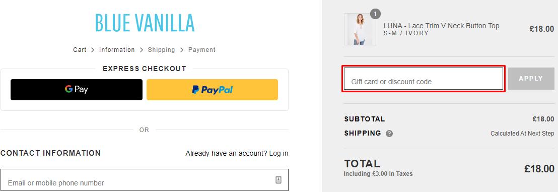 How do I use my Blue Vanilla discount code?